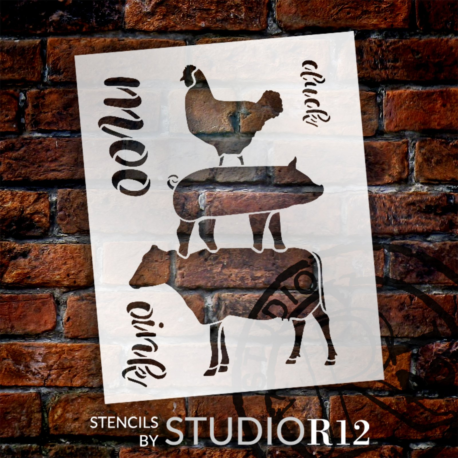 Cluck Oink Moo Stencil by StudioR12   Chicken Pig Cow   Craft DIY Farmhouse Home Decor   Paint Wood Sign   Reusable Mylar Template   Select Size