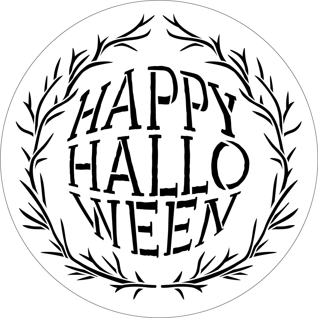 Happy Halloween Twig Wreath Round Stencil by StudioR12 | Craft DIY Fall Fisheye Home Decor | Paint Autumn Tree Branch Wood Sign | Select Size
