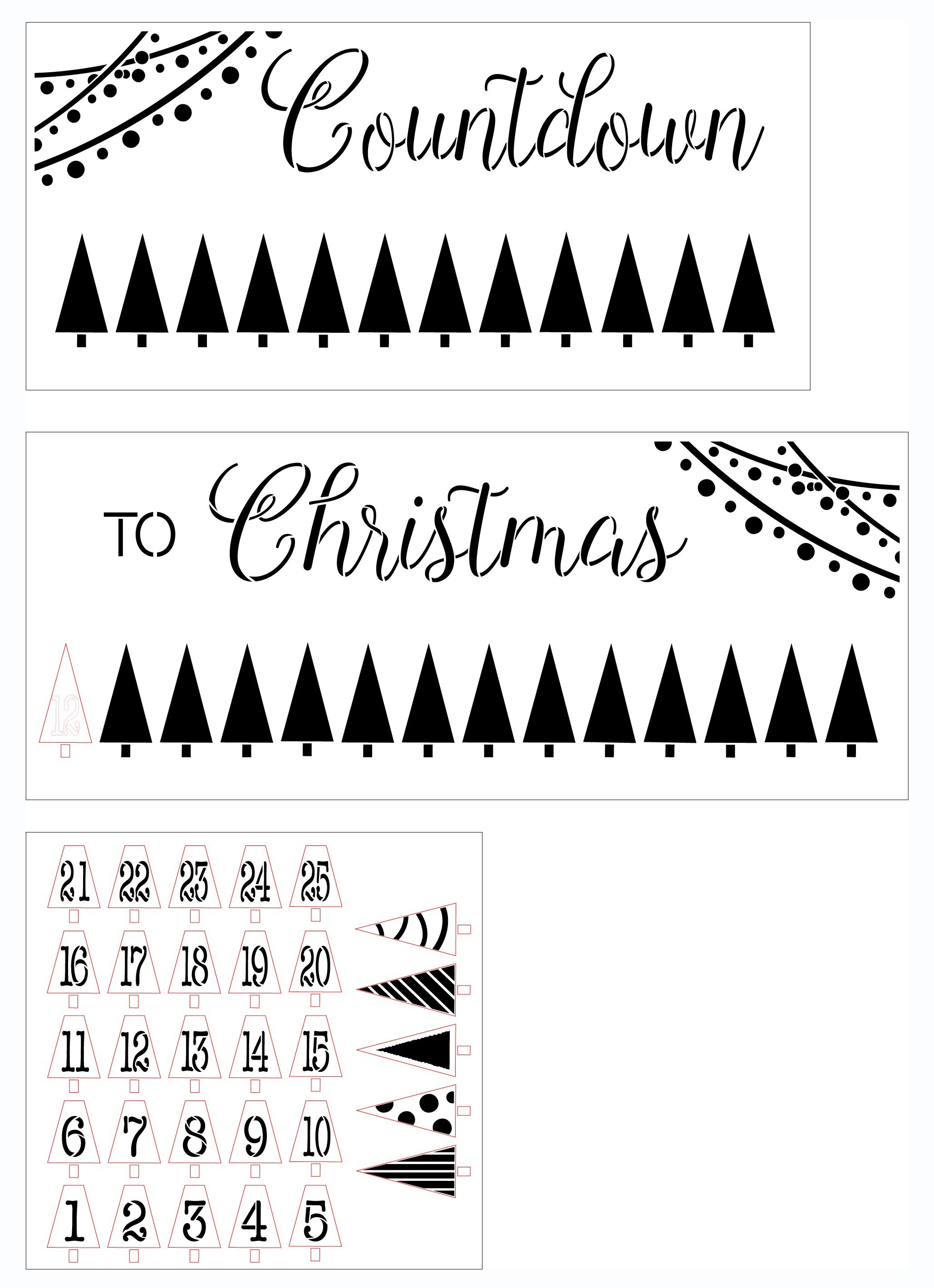 Countdown to Christmas 3-Part Stencil by StudioR12   Tree Lights Numbers   Craft DIY Winter Holiday Home Decor   Paint Wood Sign   Four FEET