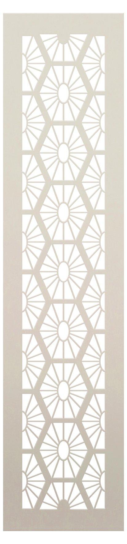 Chinese Elongated Sunburst Hexagon Band Stencil by StudioR12 | Craft DIY Sun Backsplash Pattern Home Decor | Paint Wood Sign Border | Select Size