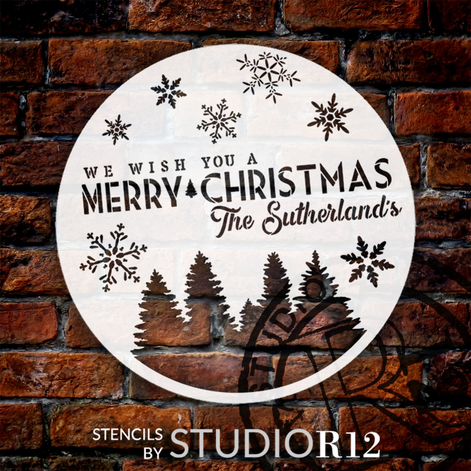 Personalized We Wish You A Merry Christmas Stencil by StudioR12   DIY Custom Holiday Home Decor   Craft & Paint Wood Signs   Size (18 x 18 inch)