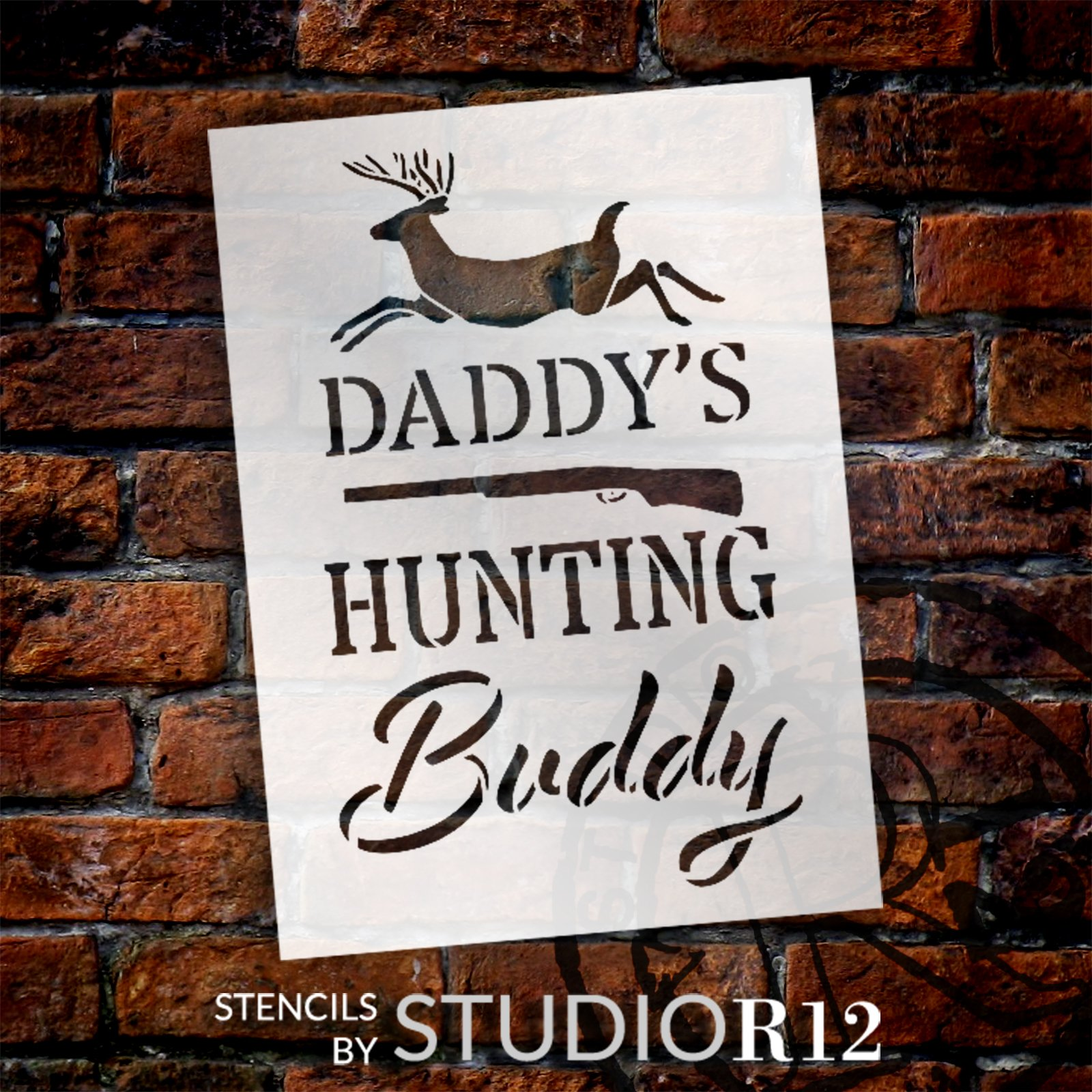 Personalized Hunting Buddy Stencil with Deer by StudioR12   DIY Country Cabin Home Decor   Craft & Paint Wood Signs   Select Size