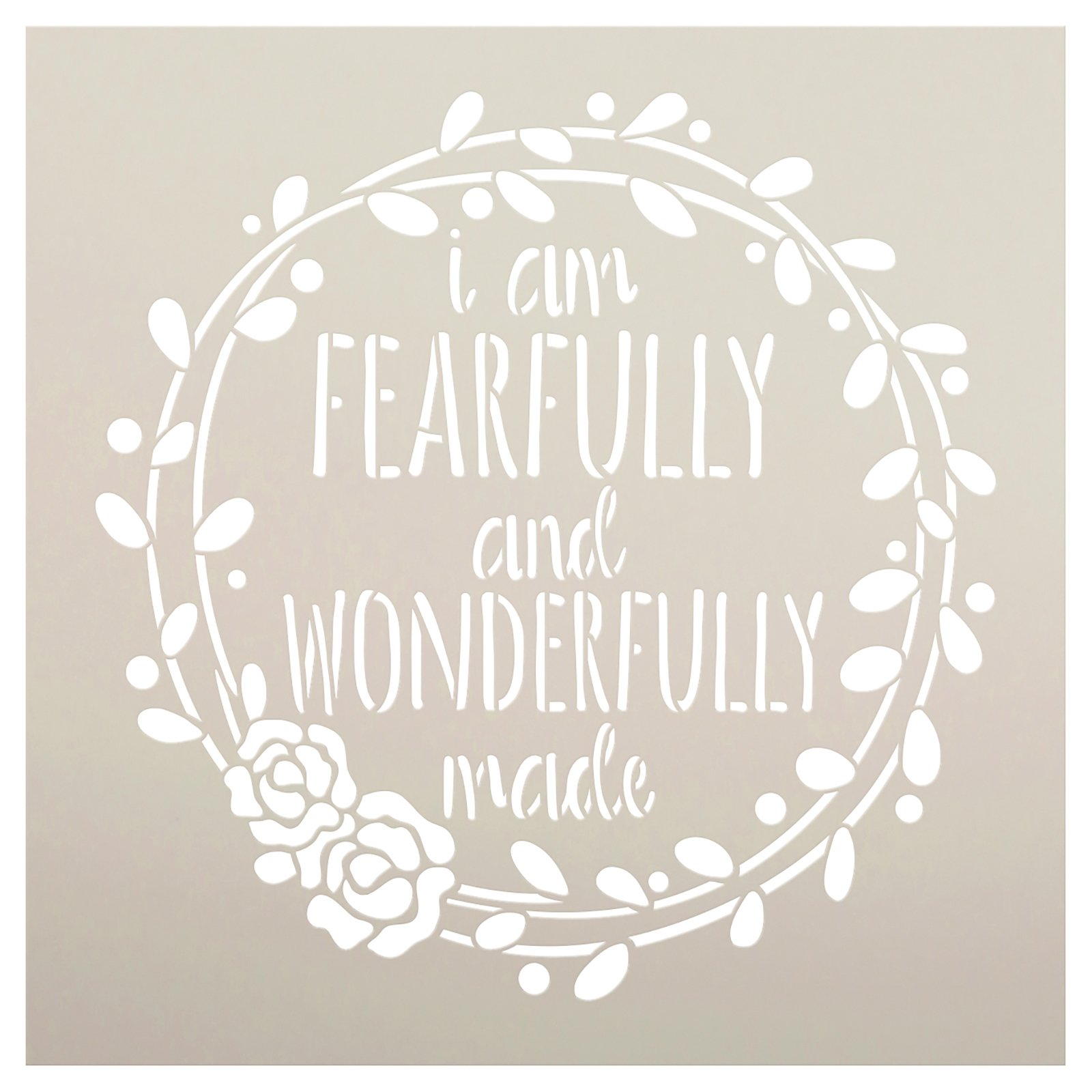 Fearfully and Wonderfully Made Wreath Stencil by StudioR12   Craft DIY Bible Home Decor   Paint Wood Sign   Reusable Mylar Template   Select Size