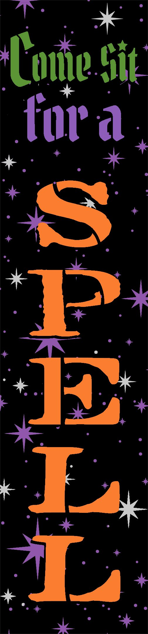 Come Sit for a Spell Stencil by StudioR12 | Craft DIY Halloween Home Decor | Paint Fall Porch Wood Sign | Reusable Mylar Template | Select Size