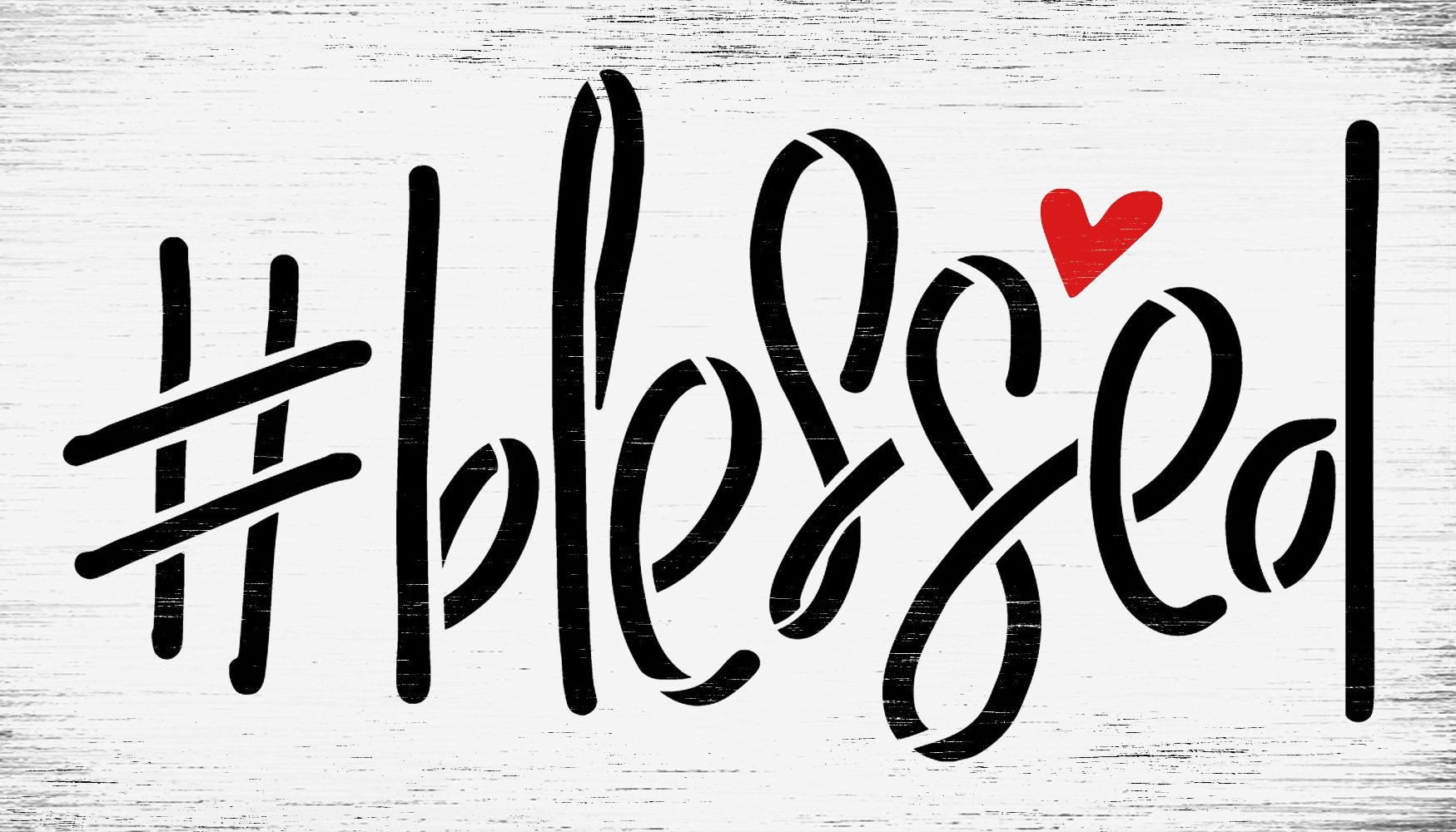 #Blessed Stencil by StudioR12 | Craft DIY Hashtag Heart Home Decor | Paint Faith & Inspiration Wood Sign | Reusable Mylar Template | Select Size
