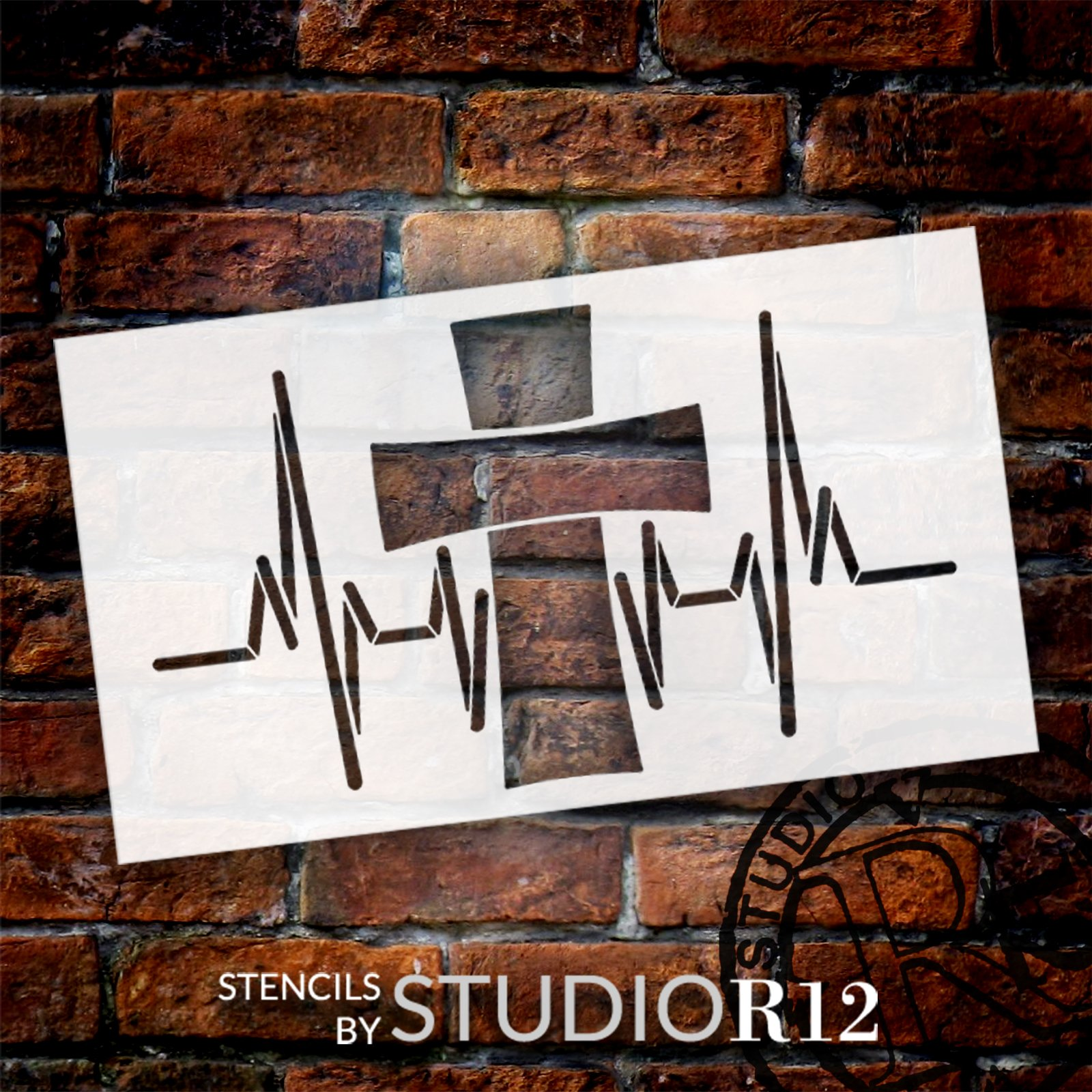 Heartbeat with Cross Stencil by StudioR12 | Craft DIY Faith & Inspiration Home Decor | Paint Wood Sign | Reusable Mylar Template | Select Size