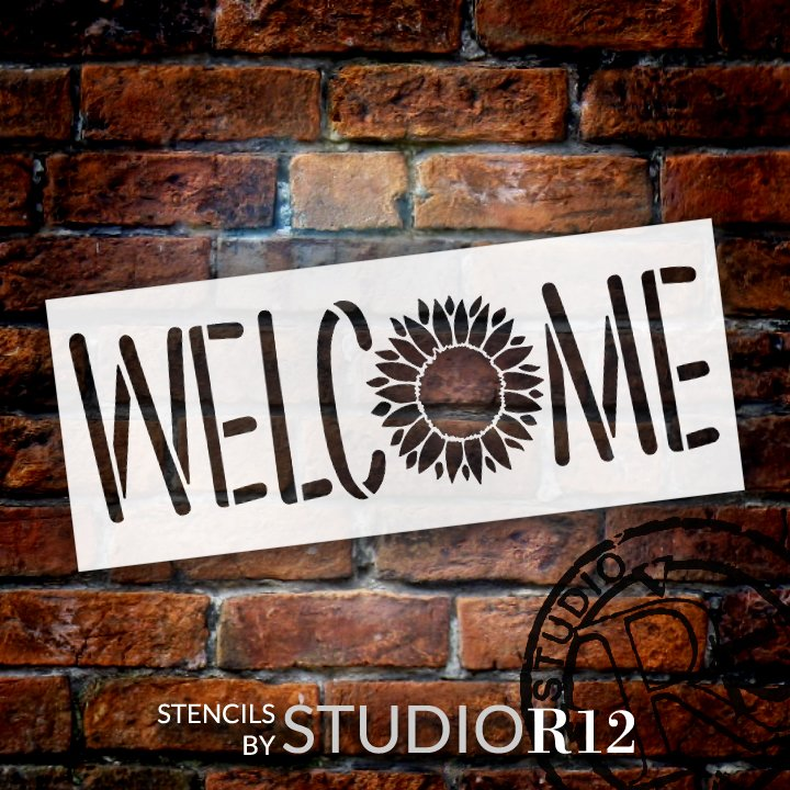 Welcome Sunflower Stencil by StudioR12 | DIY Summer Garden Greeting Home Decor | Craft & Paint Porch Wood Sign | Reusable Mylar Template | Select Size