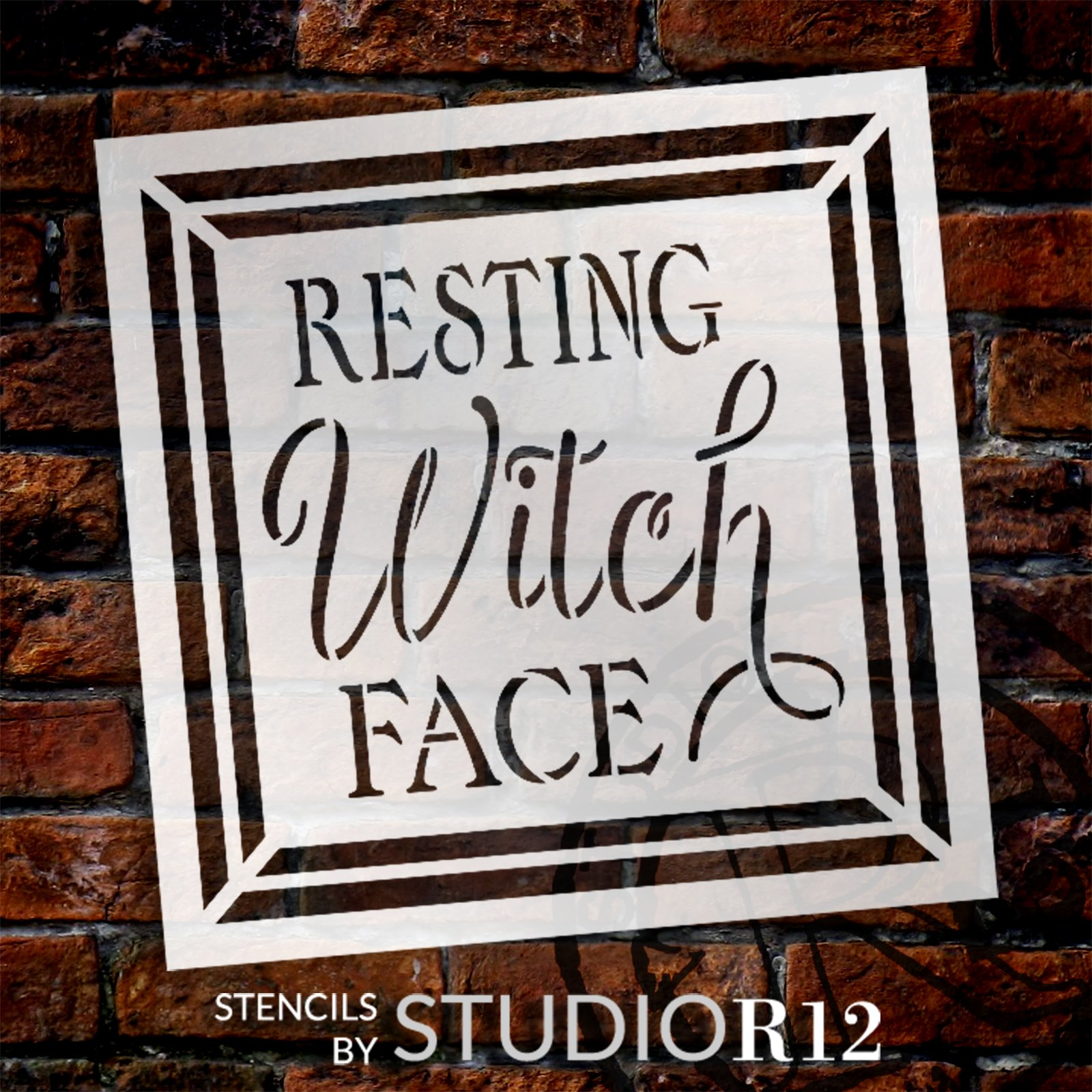 Resting Witch Face Stencil by StudioR12 | Craft DIY Autumn Halloween Home Decor | Paint Fall Wood Sign | Reusable Mylar Template | Select Size