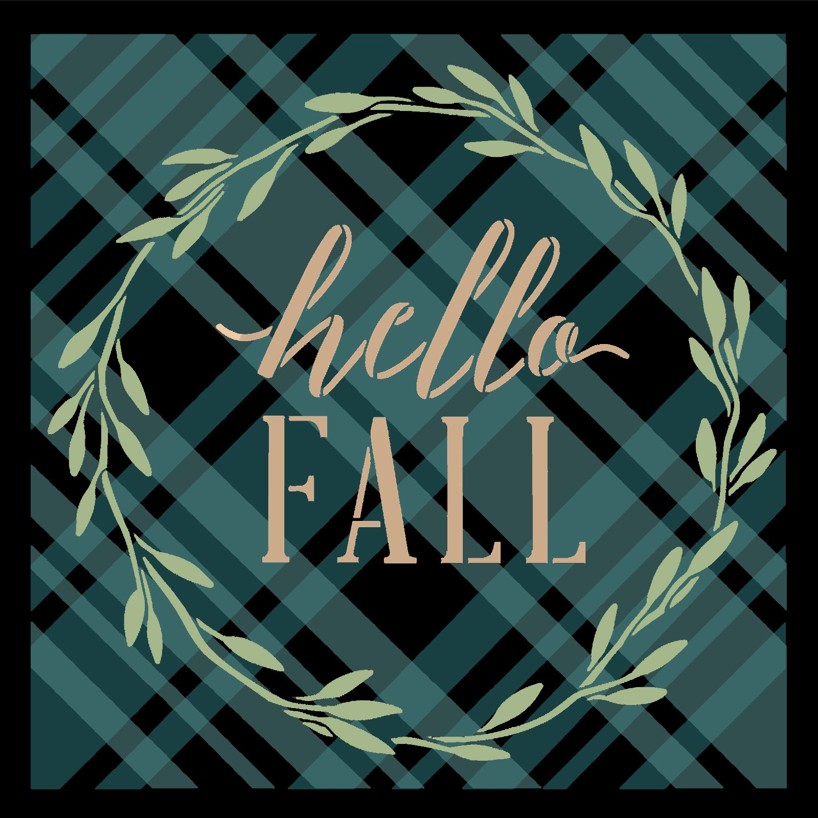 Fall Plaid Stencil by StudioR12 | Craft DIY Autumn Pattern Home Decor | Reusable Mylar Template | Paint Seasonal Wood Sign Background | Select Size
