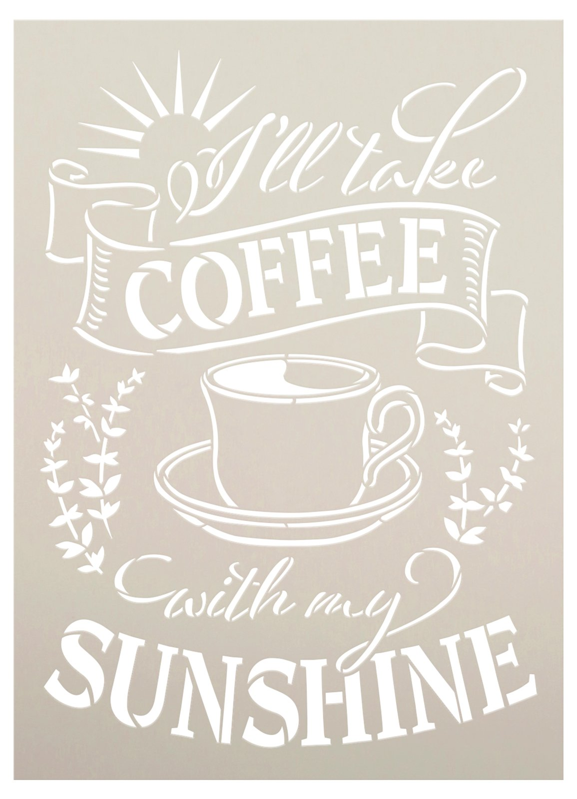 Coffee with My Sunshine Stencil by StudioR12 | Mug - Branches | Craft DIY Kitchen Cafe Home Decor | Paint Wood Sign | Reusable Mylar Template | Select Size
