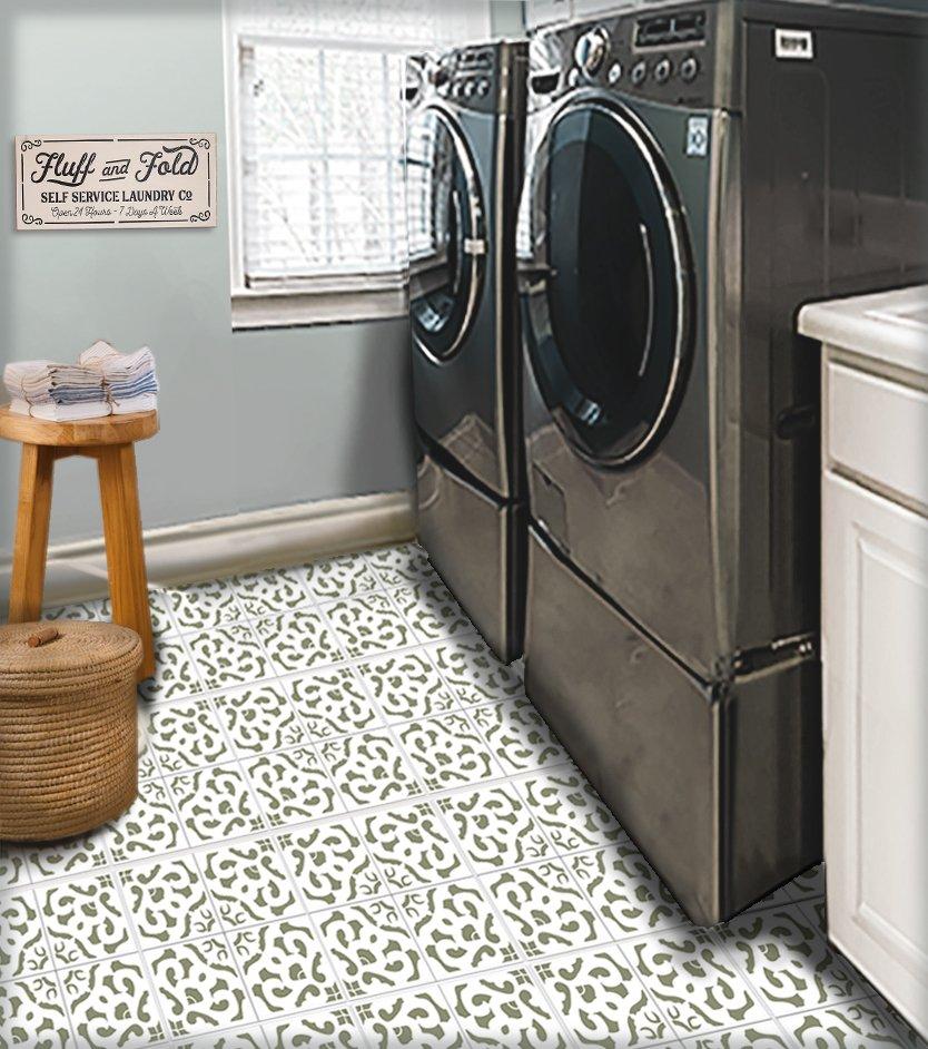 Geometric Floral Tile Stencil by StudioR12   DIY Kitchen Wall Backsplash   Reusable Quarter Pattern for Bathroom Floor   Select Size