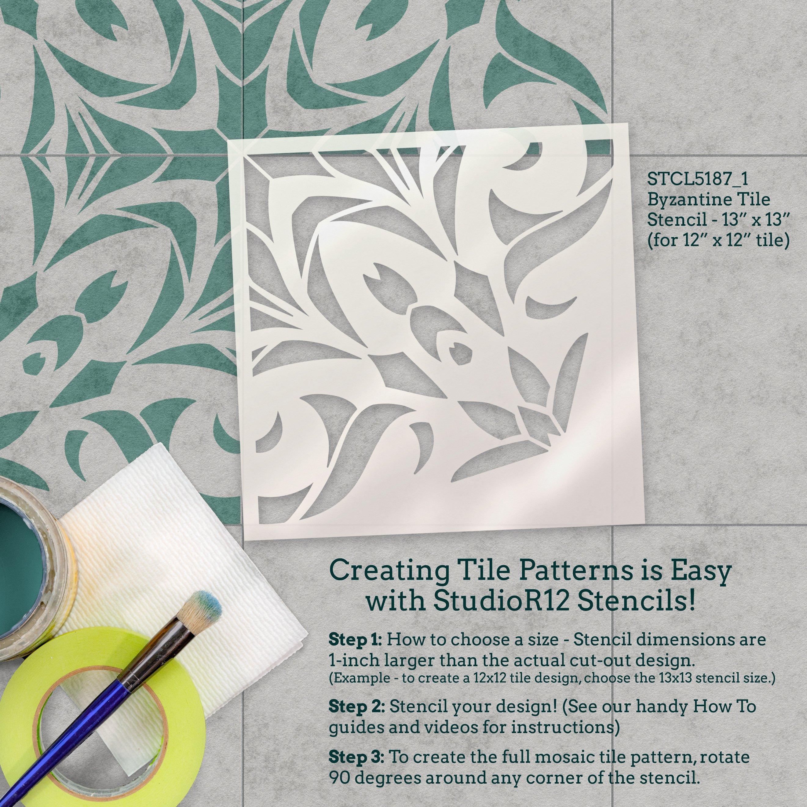 Ornate Floral Quatrefoil Tile Stencil by StudioR12 | DIY Kitchen Backsplash | Quarter Pattern for Bathroom Floor & Wall | Select Size