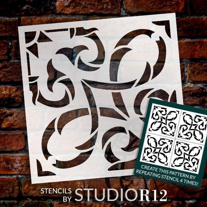 Vine Ornament Tile Stencil by StudioR12   DIY Kitchen Backsplash   Reusable Quarter Pattern & Bathroom Wall for Floor   Select Size