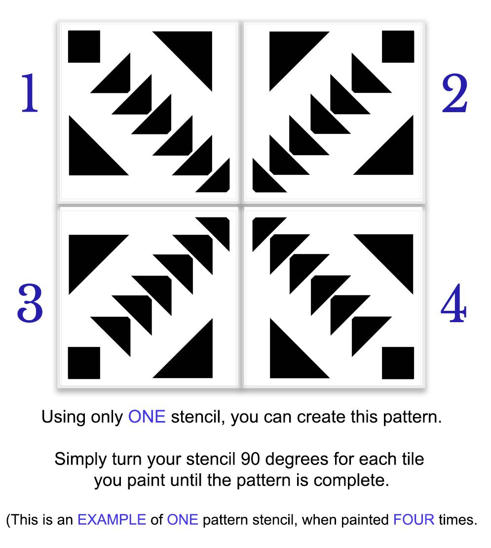 Triangle Diamond Mosaic Tile Stencil by StudioR12 | Quarter Pattern for Bathroom Floors & Wall | DIY Kitchen Backsplash | Select Size