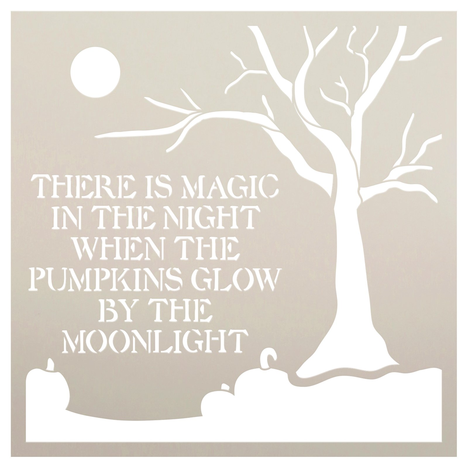 Pumpkin by Moonlight Stencil by StudioR12 | Craft DIY Fall Autumn Home Decor | Paint Halloween Wood Sign | Reusable Mylar Template | Select Size
