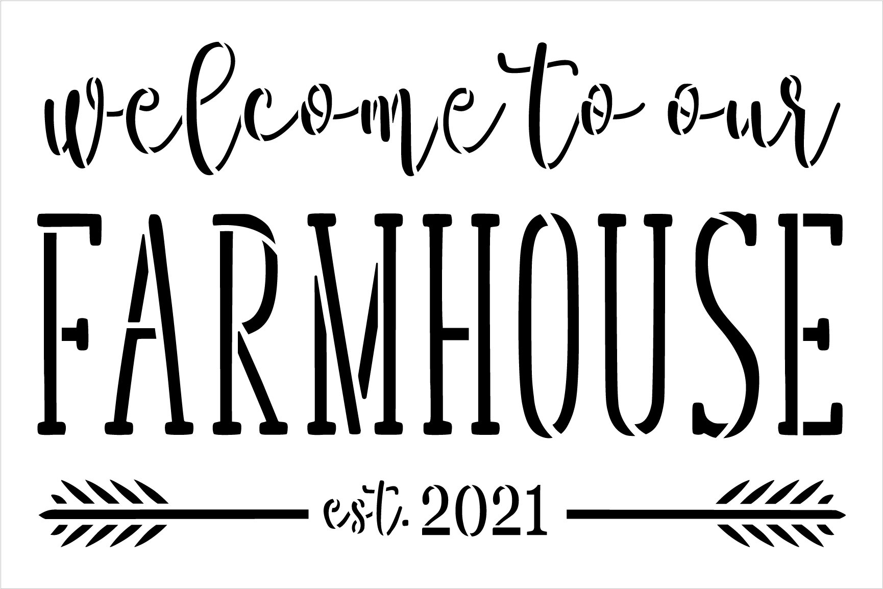 Welcome to Our Farmhouse Personalized Stencil with Arrow by StudioR12 | DIY Entryway & Home Decor | Paint Wood Signs | Select Size