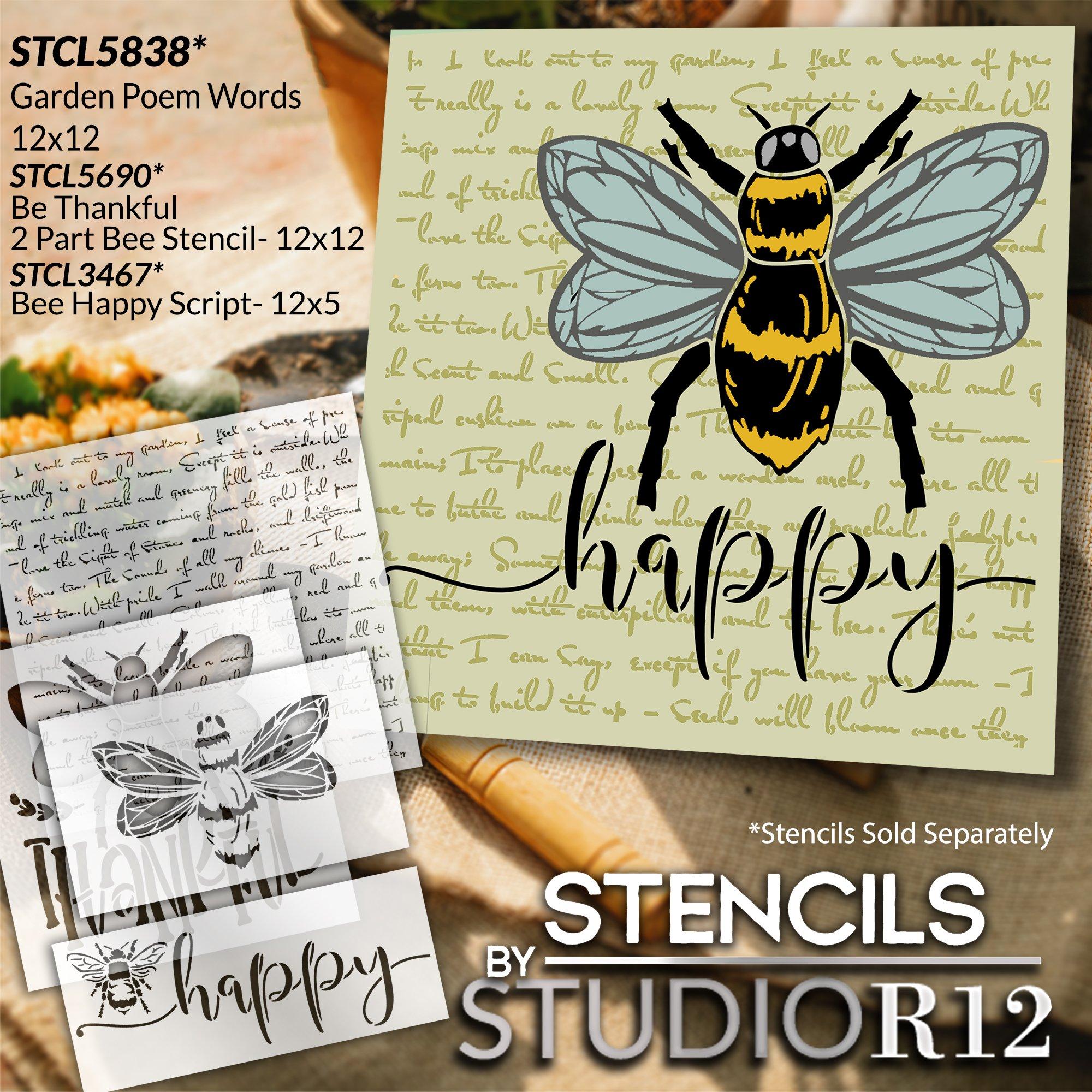 Garden Poem Stencil by StudioR12   Craft DIY Elegant Outdoor Home Decor   Paint Spring & Summer Wood Sign   Reusable Mylar Template   Select Size