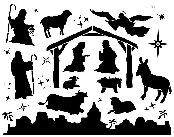 Away in a Manger Stencil by StudioR12 | DIY Nativity Scene & Christmas Home Decor | Craft & Paint Holiday Wood Signs | Select Size
