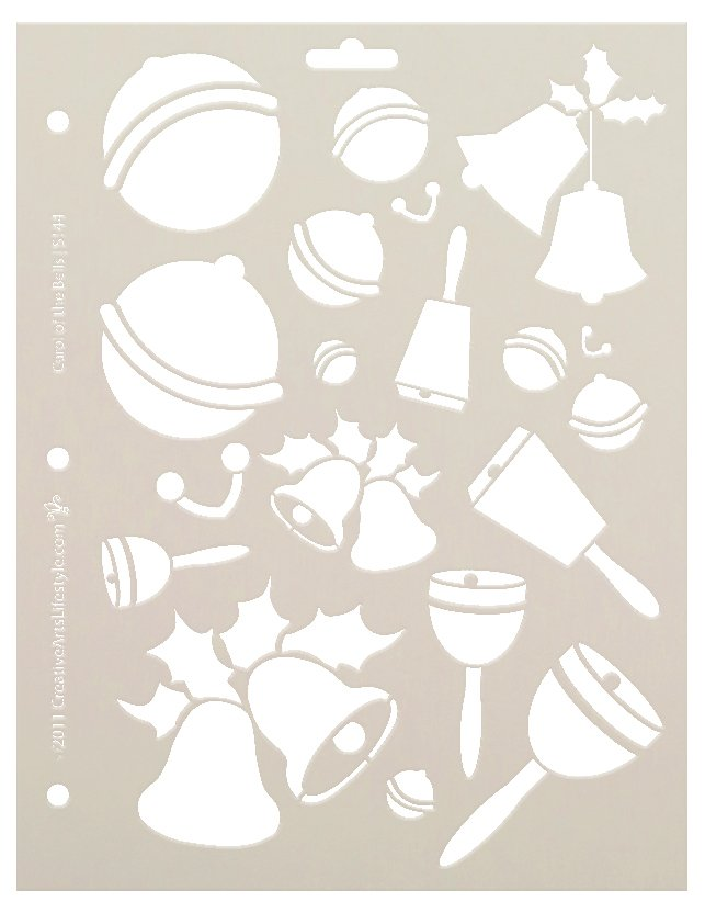 Carol of The Bells Stencil by StudioR12 | DIY Christmas & Holiday Home Decor | Jingle Bells Reusable Multimedia Template | Select Size