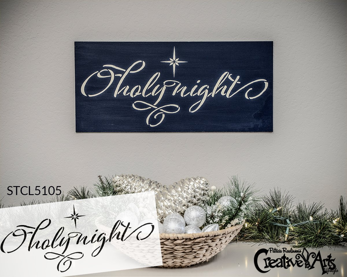 O Holy Night Elegant Stencil by StudioR12   DIY Farmhouse Christmas Star Home Decor   Craft & Paint Wood Sign   Reusable Mylar Template   Select Size