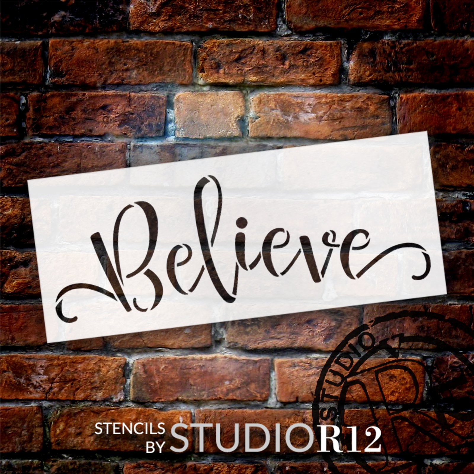 Believe Script Stencil by StudioR12 | DIY Christmas Word Art Home Decor | Craft & Paint Inspirational Wood Signs | Select Size