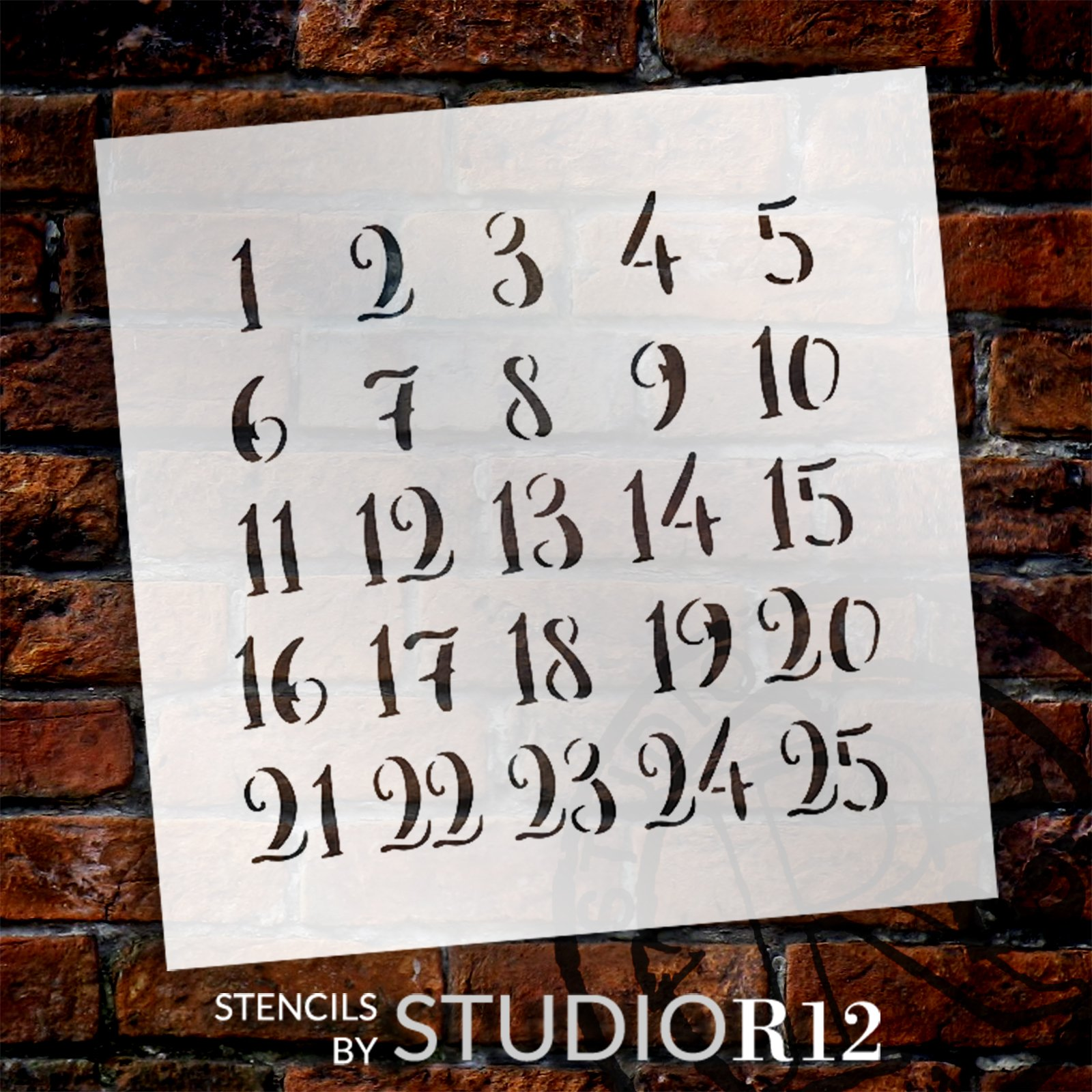 Christmas Countdown Numerals Stencil by StudioR12 | DIY Holiday Advent Calendar Decor | Paint Winter Wood Signs | Select Size