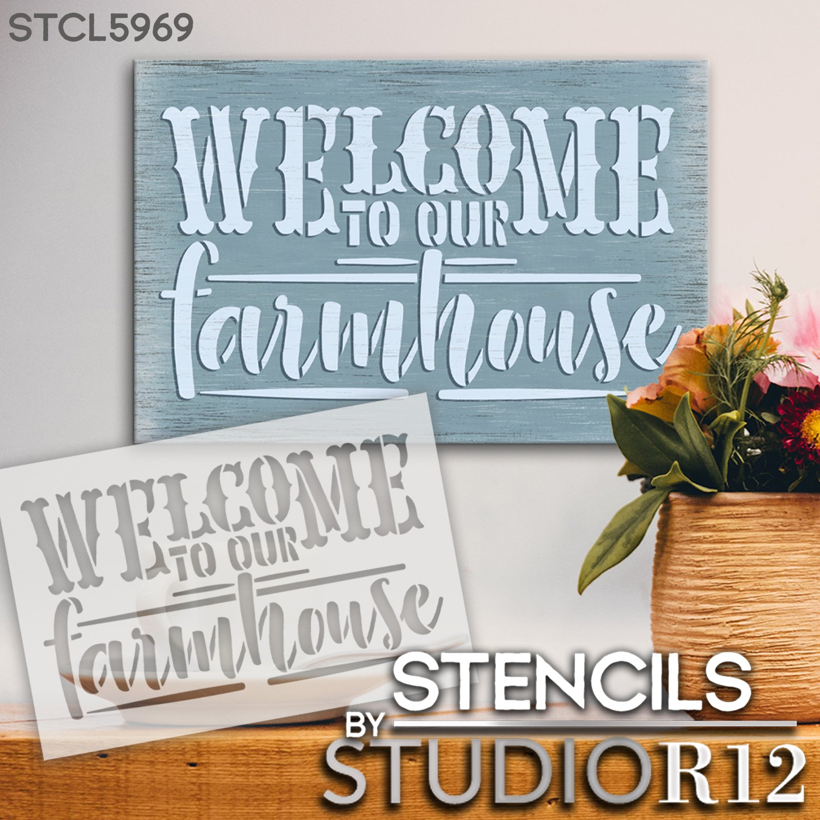 Welcome to Our Farmhouse Stencil by StudioR12   Craft Rustic DIY Home Decor   Paint Wood Sign   Reusable Mylar Template   Select Size