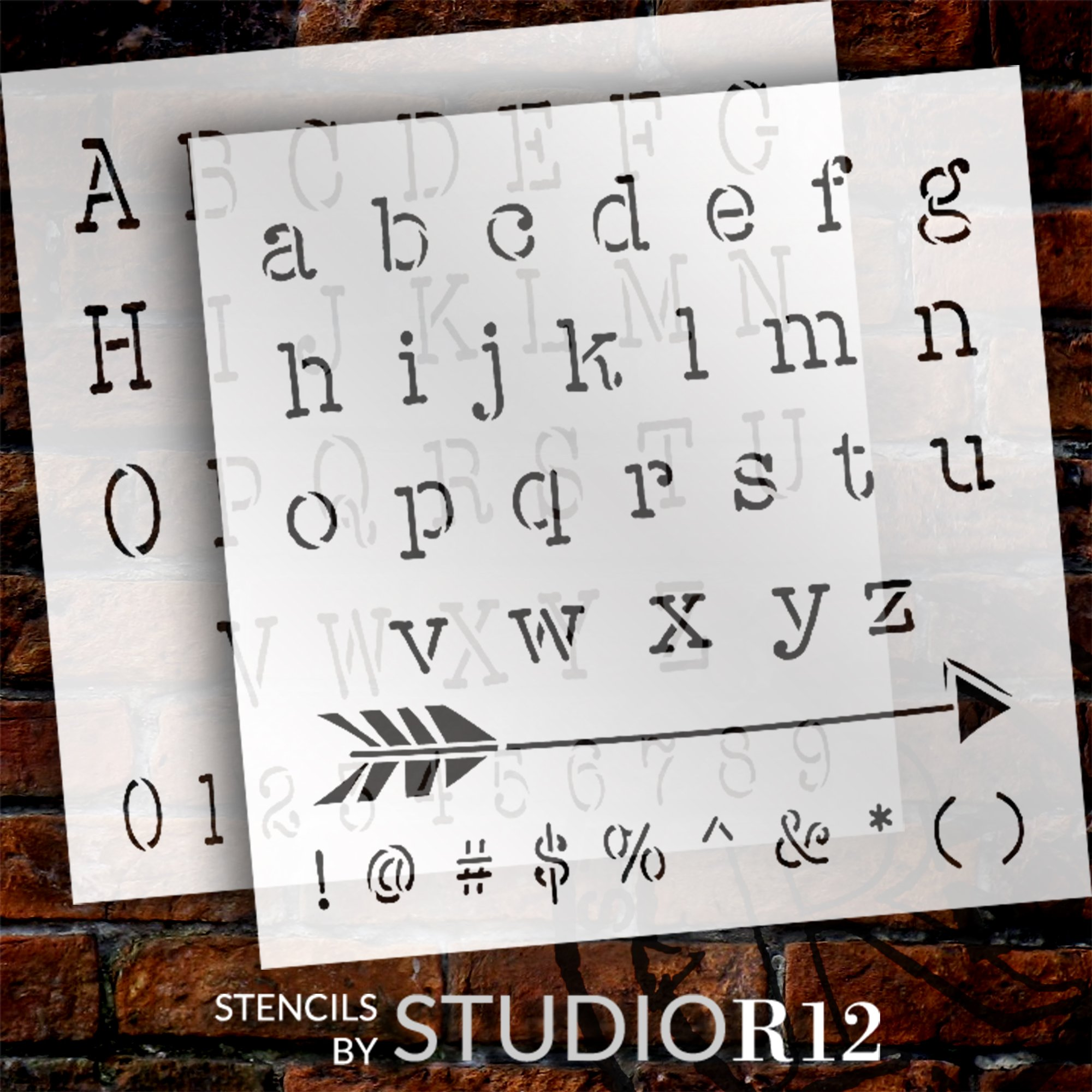 Crafty Typewriter Lettering Stencils by StudioR12 | Full Alphabet Stencil for Journaling | Reusable Template | Select Size