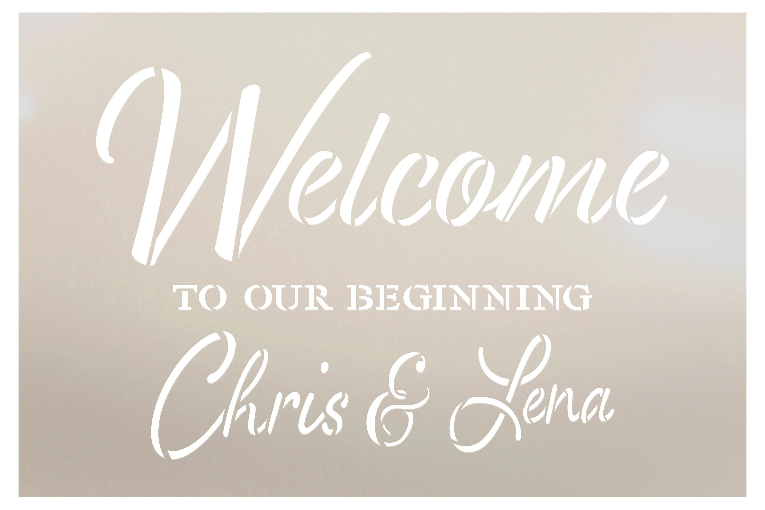 Personalized Welcome to Our Beginning Script Stencil by StudioR12 | DIY Custom Wedding Decor | Craft & Paint Wood Signs | Select Size
