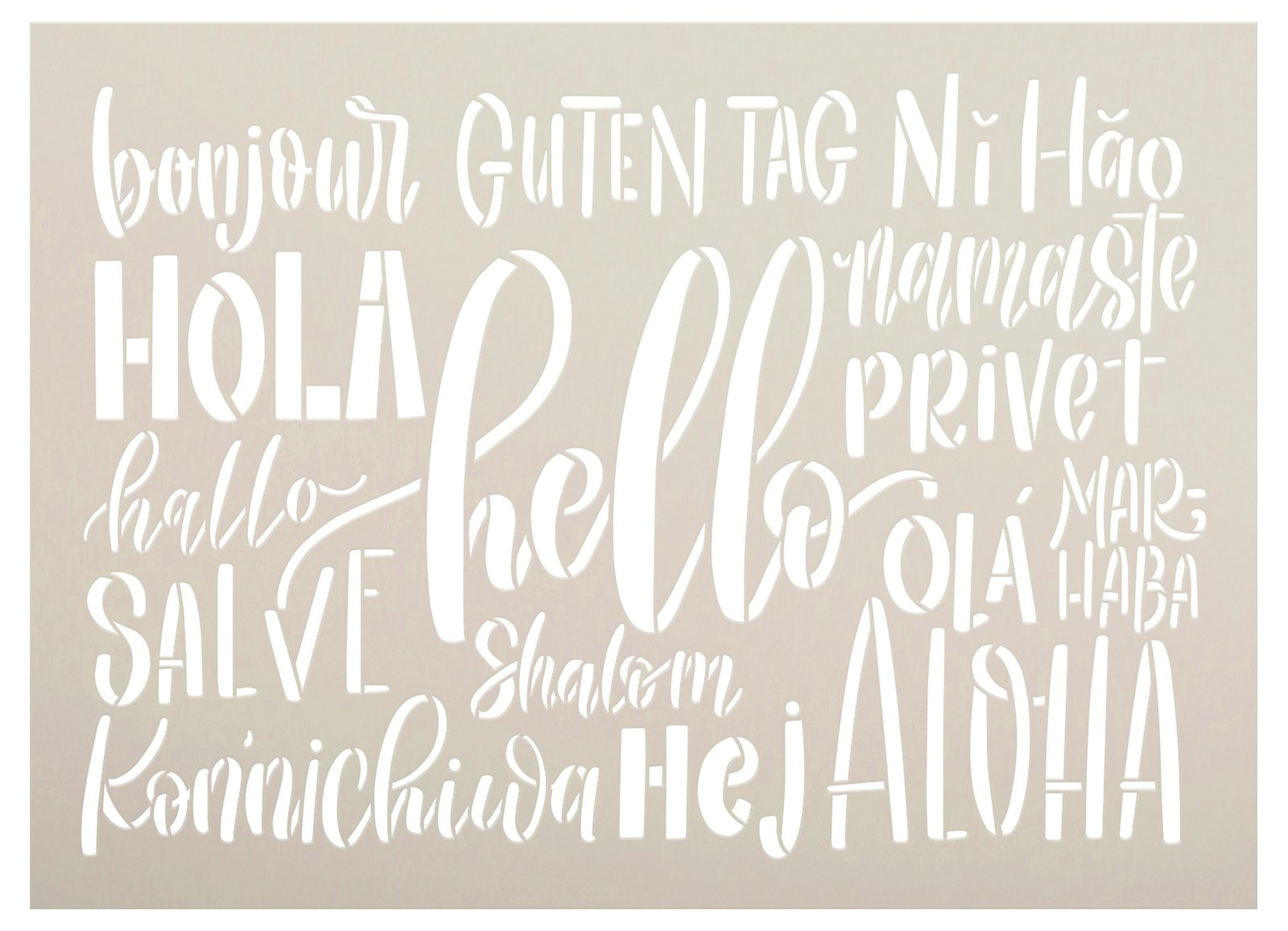 Hello Different Languages Stencil by StudioR12 | Craft DIY Welcome Home Decor | Paint Farmhouse Wood Sign | Reusable Mylar Template | Select Size