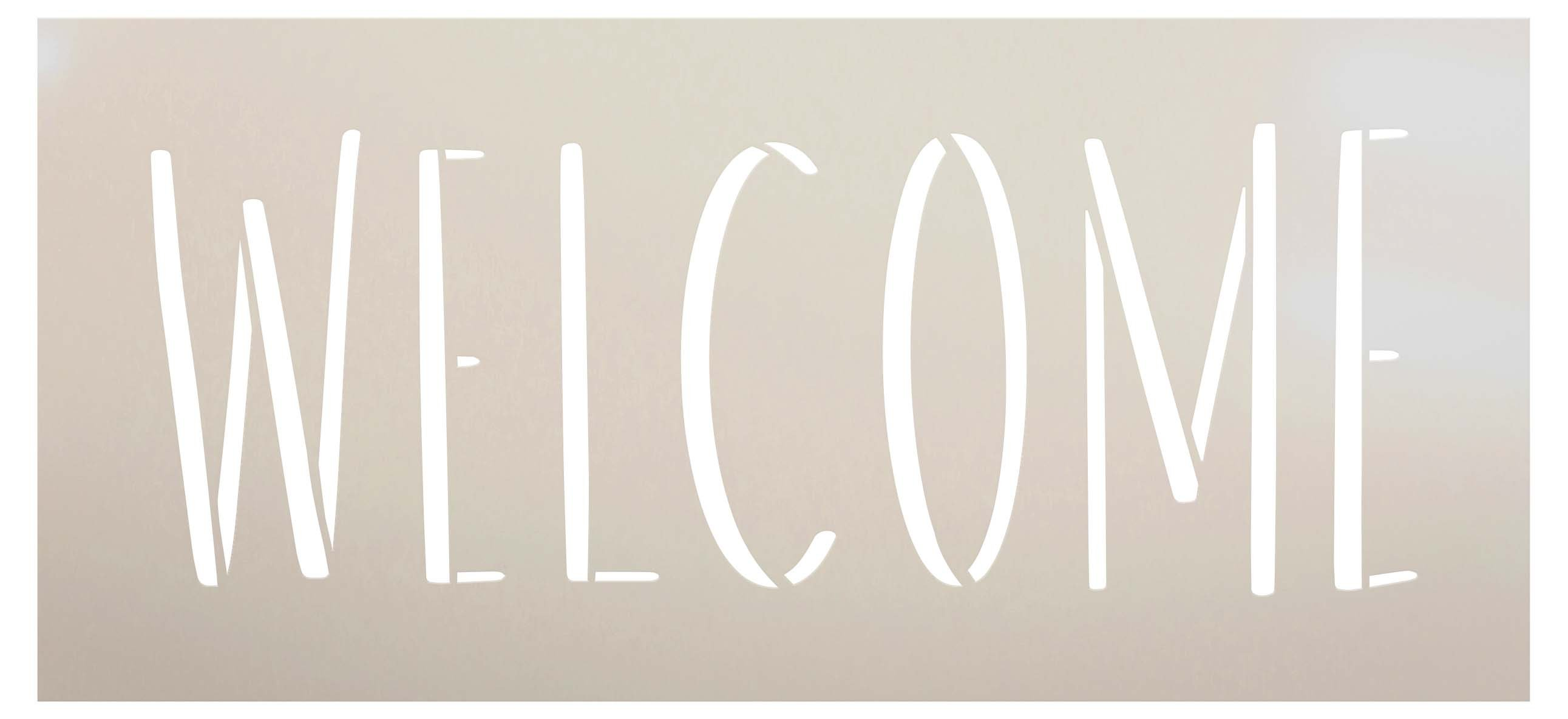 Simple Welcome Stencil by StudioR12   Craft DIY Welcome Home Decor   Paint Farmhouse Wood Sign   Reusable Mylar Template   Select Size