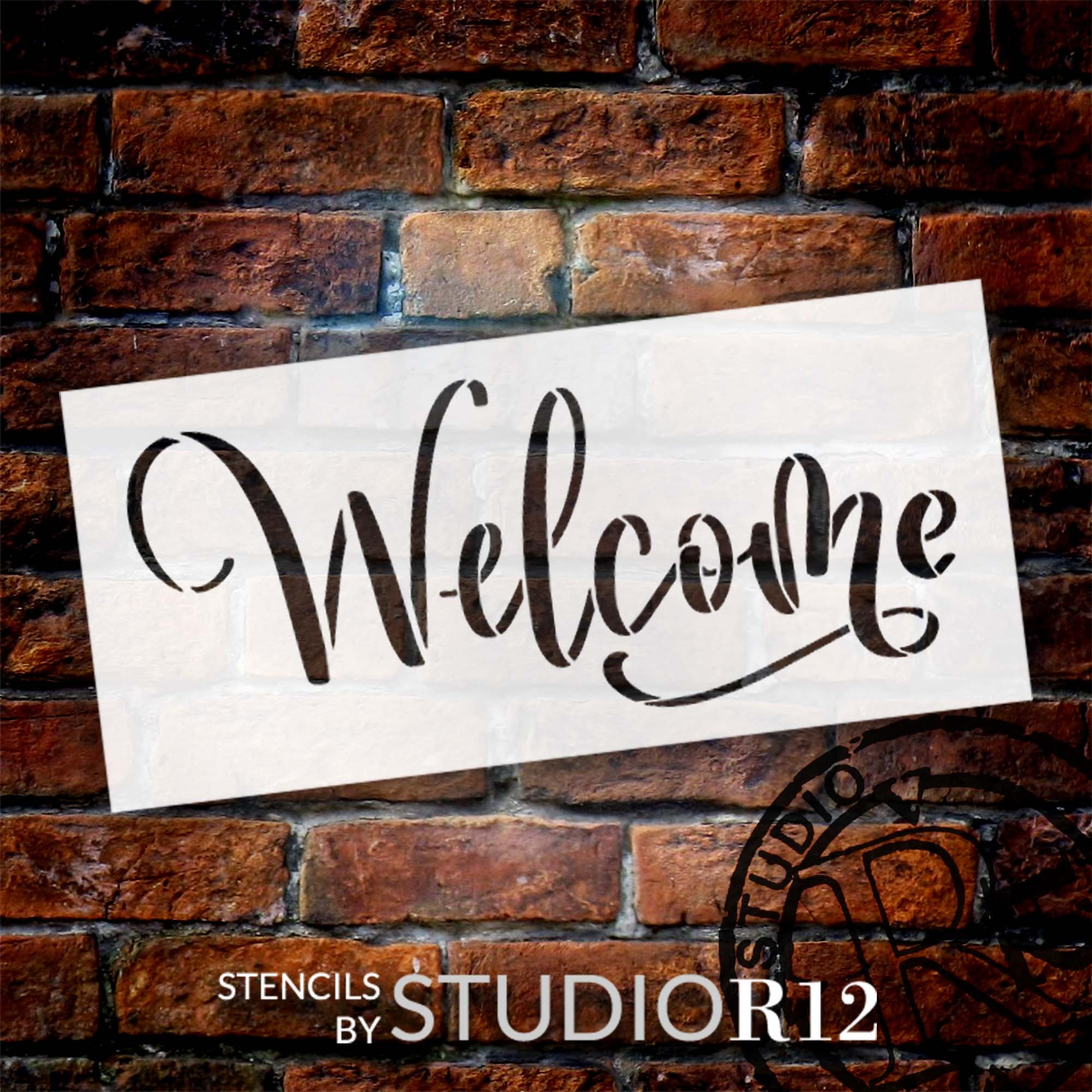Bold Welcome Script Stencil by StudioR12 | Craft DIY Farmhouse Home Decor | Paint Wood Sign | Reusable Mylar Template | Select Size
