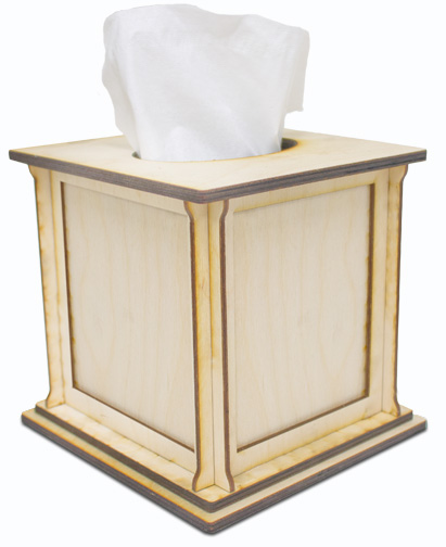 Square Tissue Box with 4 Changeable Panels