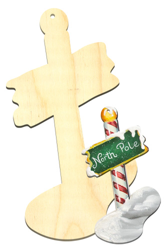 Wood Ornament - North pole Sign
