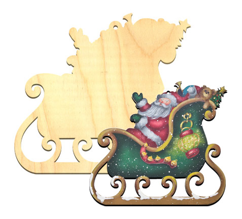 Wood Ornament - Santa & Sleigh