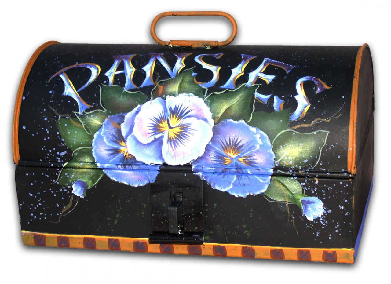 Pansies on Tin E-Packet - Patricia Rawlinson