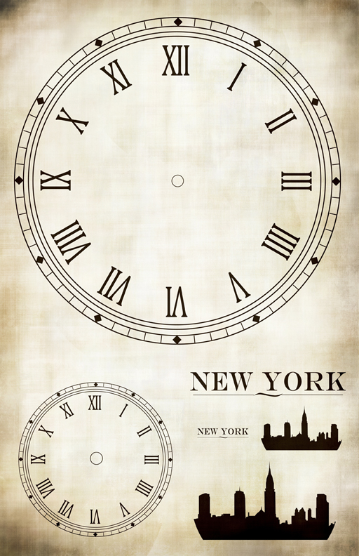 "Clock New York Collage Paper - 10 1/2"" x 16"""