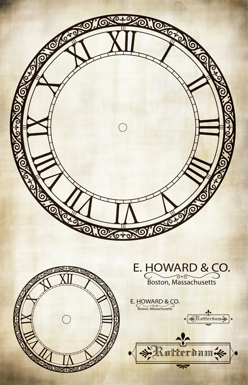 """E. Howard Co Clock Collage Paper - 10 1/2 """" x 16"""""""