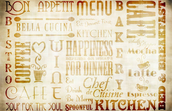 """Chef Words Collage Paper - Antique Caramel - 10 1/2"""" x 16"""""""