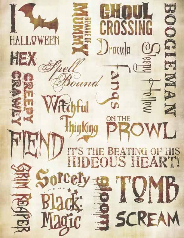 "Haunted Words Collage Paper - Antique Caramel - 8""  x 10 1/2"""
