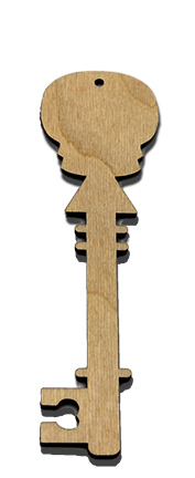 Wood Ornament Key - Skull