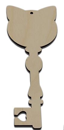 Wood Ornament Key - Cat