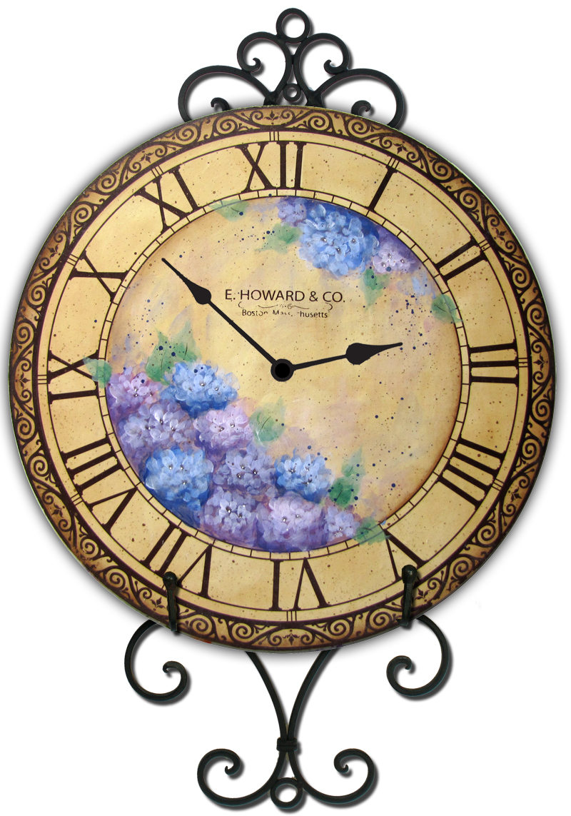 Blue Hydrangeas Clock - E-Packet - Patricia Rawlinson