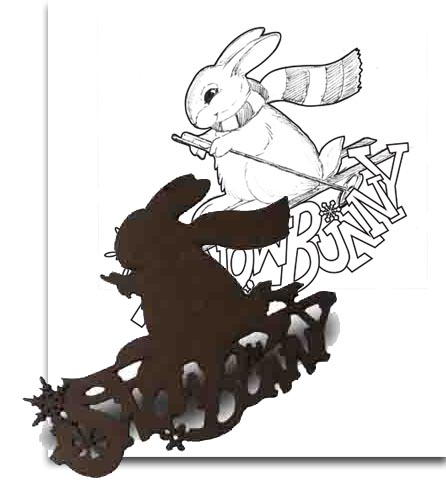 Wood Ornament - Snow Bunny