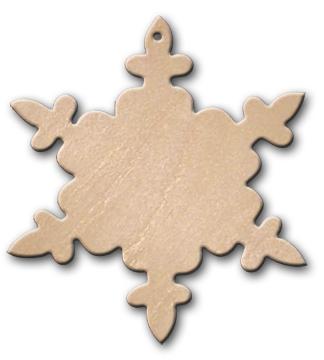 Wood Ornament - Snowflake Crystal