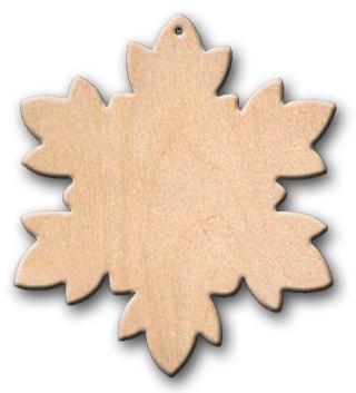 Wood Ornament - Snowflake Fluffy