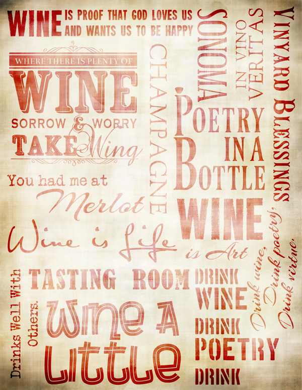 "Wine Collage Paper - Antique Red - 8"" x 10 1/2"""