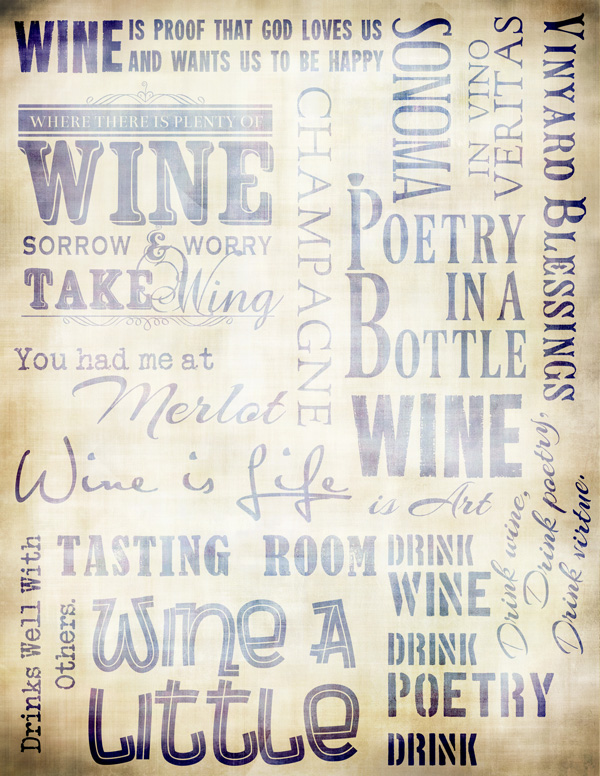 "Wine Collage Paper - Antique Blue - 8"" x 10 1/2"""