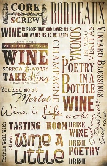 "Wine Words Collage Paper - Antique Brown- 10 1/2"" x 16"""
