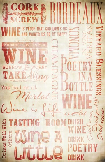 """Wine Words Collage Paper - Antique Red - 10 1/2"""" x 16"""""""